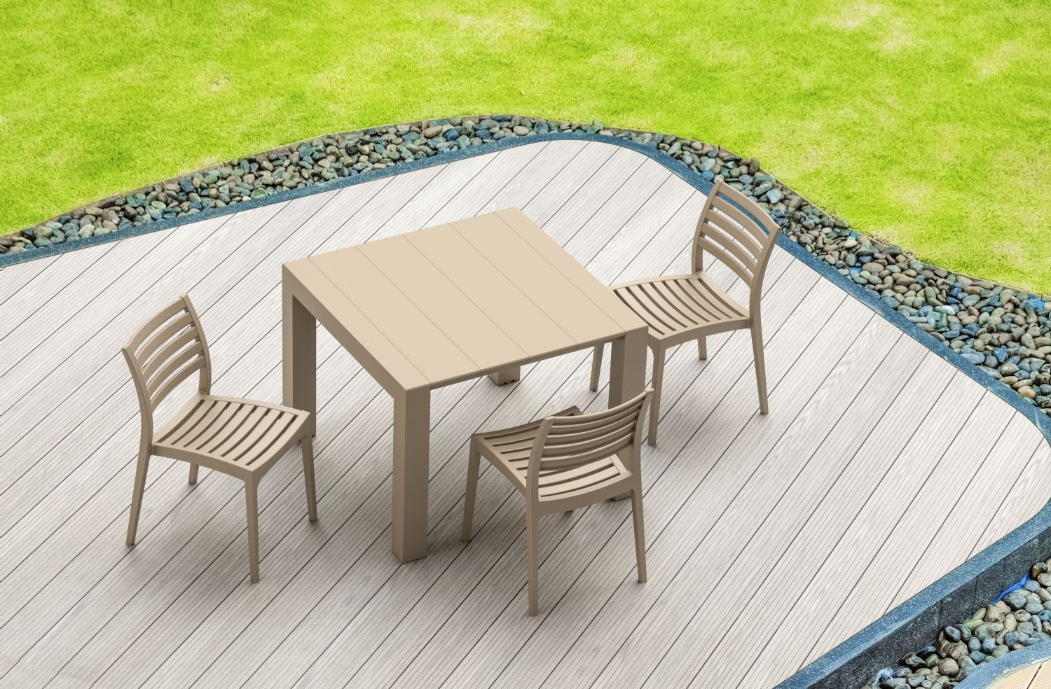 Ares Resin Outdoor Dining Chair Cafe Latte ISP009-TEA - 13