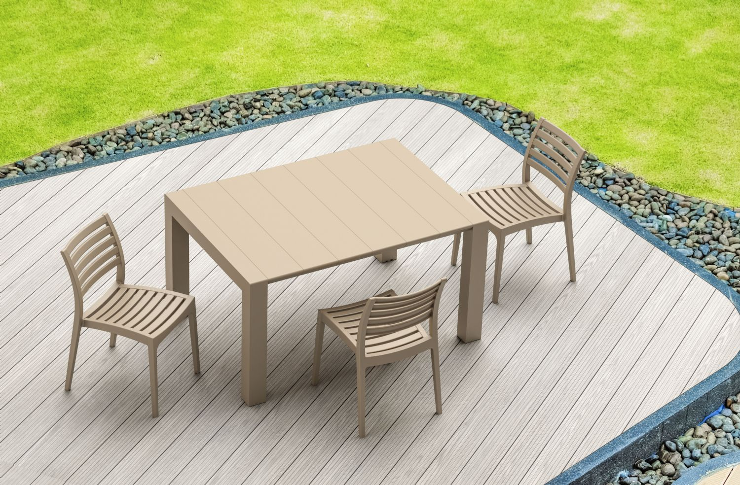 Ares Resin Outdoor Dining Chair Cafe Latte ISP009-TEA - 14