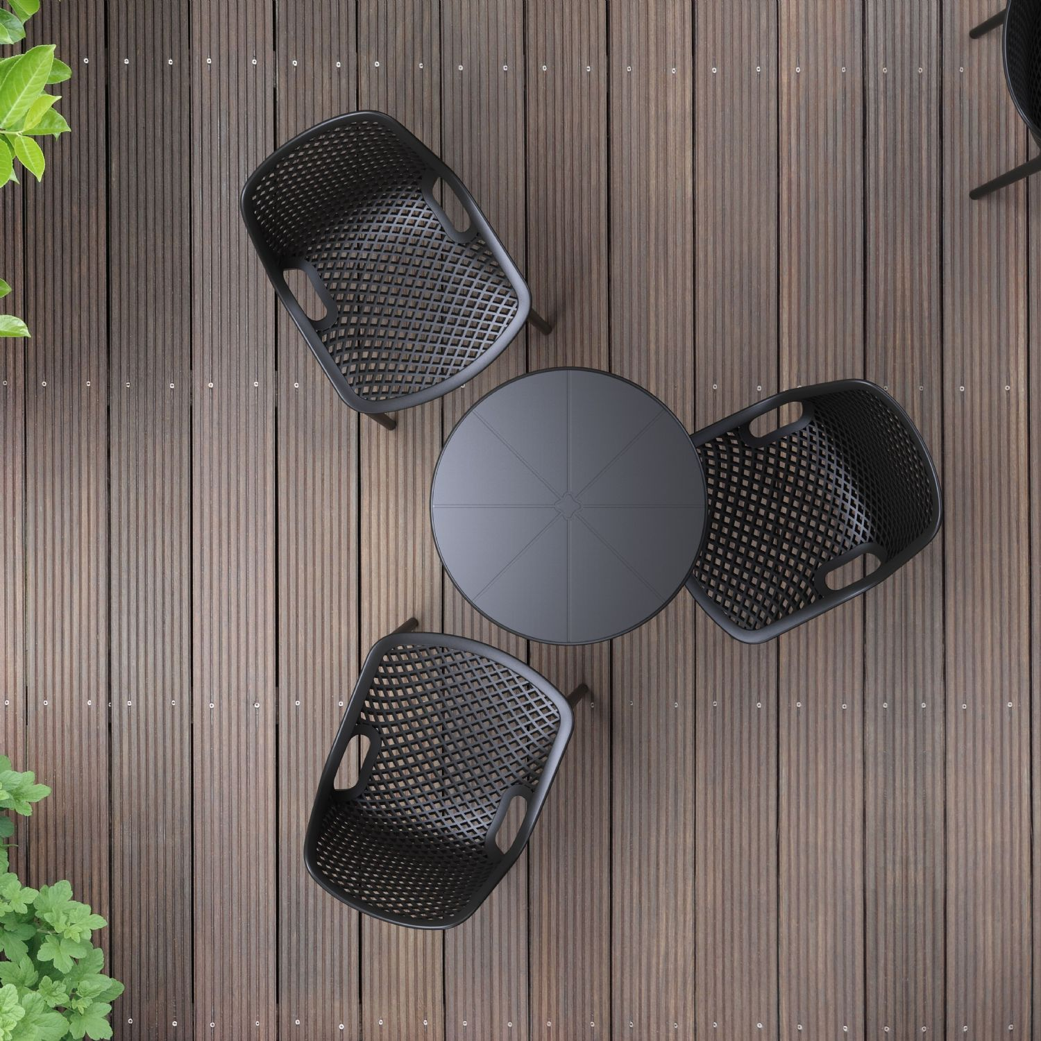 Air Outdoor Dining Chair Dark Gray ISP014-DGR - 2