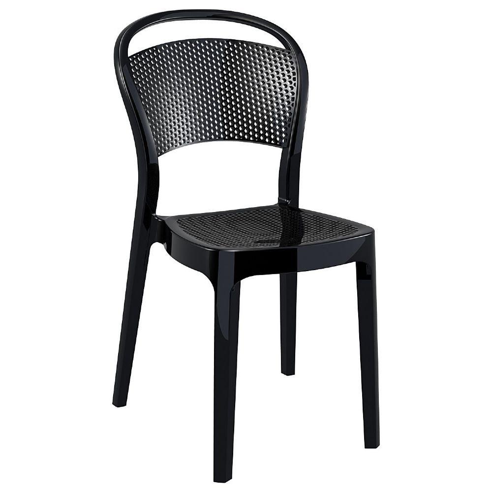 Bee Polycarbonate Dining Chair Glossy Black ISP021-GBLA