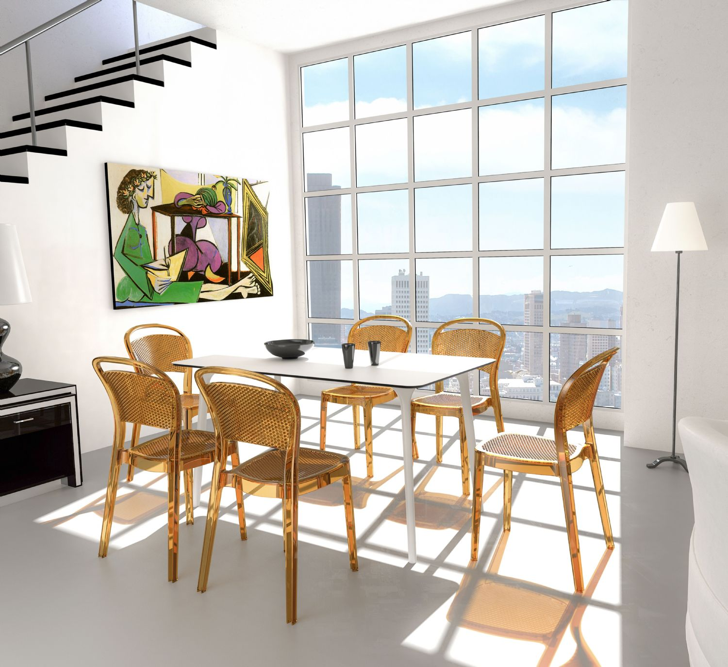 Bee Polycarbonate Dining Chair Transparent Clear ISP021-TCL - 1