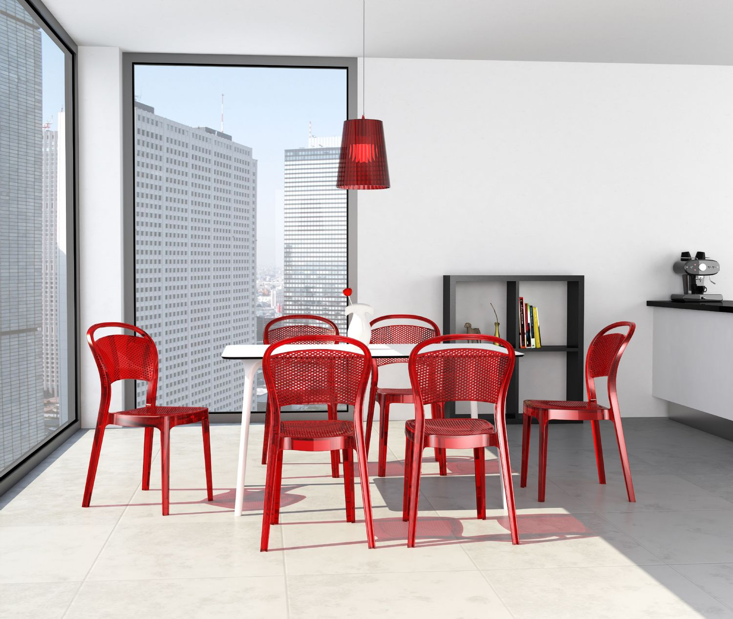 Bee Polycarbonate Dining Chair Glossy Black ISP021-GBLA - 2