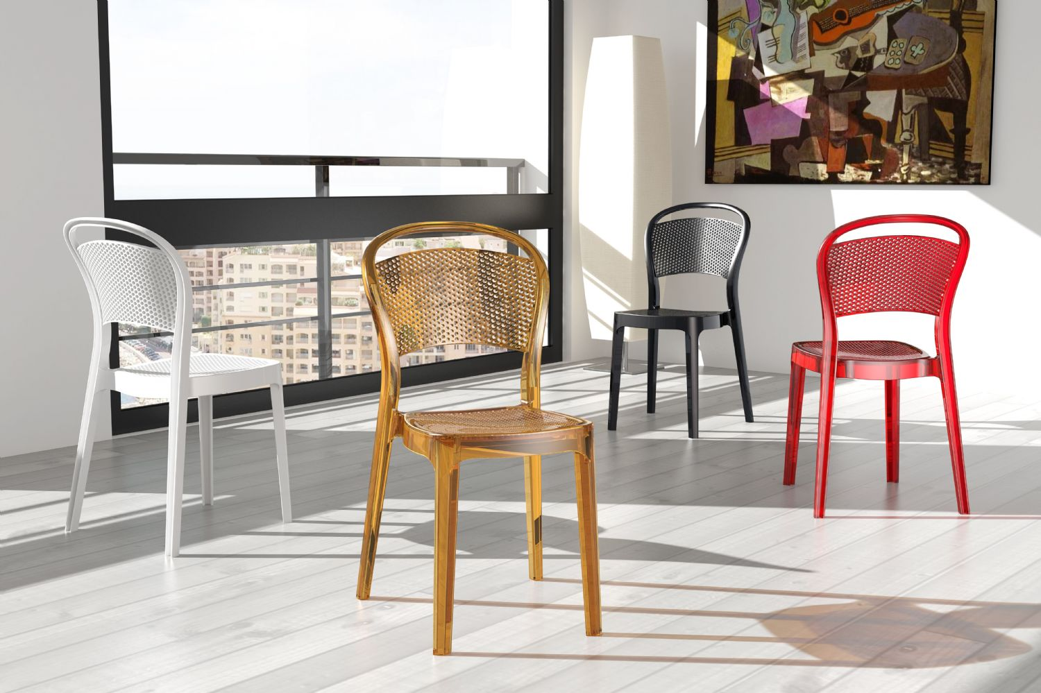 Bee Polycarbonate Dining Chair Transparent Clear ISP021-TCL - 4