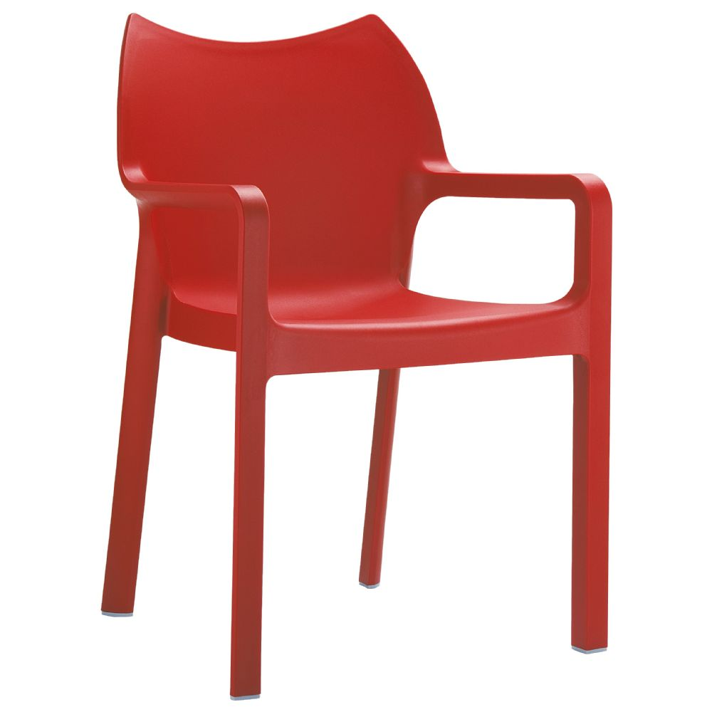 Diva Resin Outdoor Dining Arm Chair Red ISP028-RED