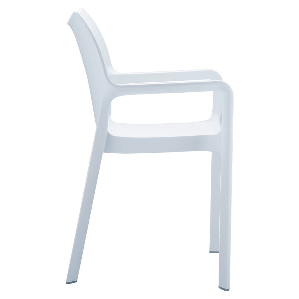Compamia diva resin outdoor dining arm chair white for White dining chairs with arms