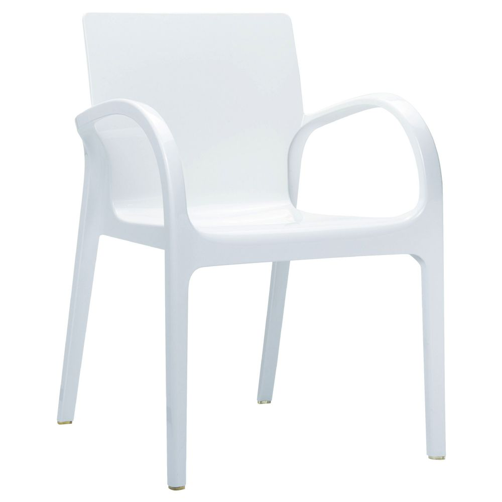 Dejavu Polycarbonate Arm Chair White ISP032-GWHI