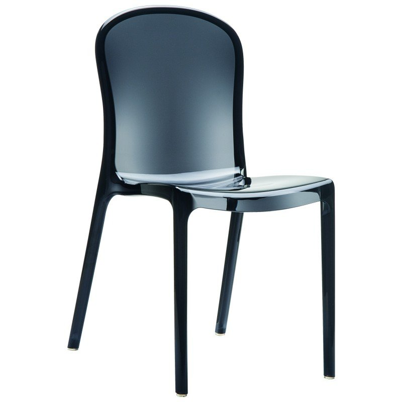 Victoria Polycarbonate Modern Dining Chair Transparent Black ISP033-TBLA