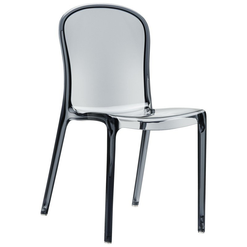 Victoria Polycarbonate Modern Dining Chair Transparent Gray ISP033-TGRY