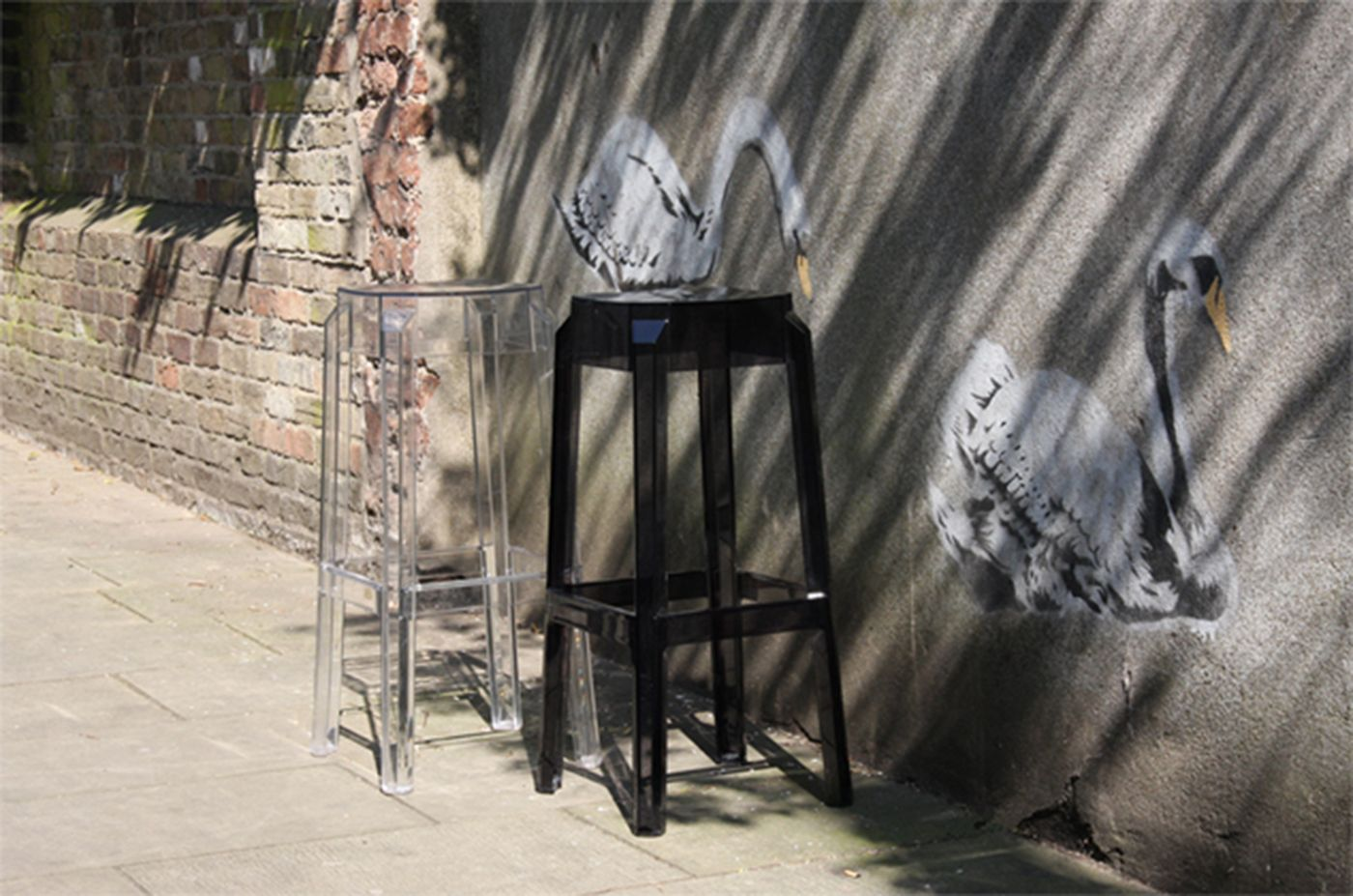 Fox Polycarbonate Counter Stool Transparent Black ISP036-TBLA - 3
