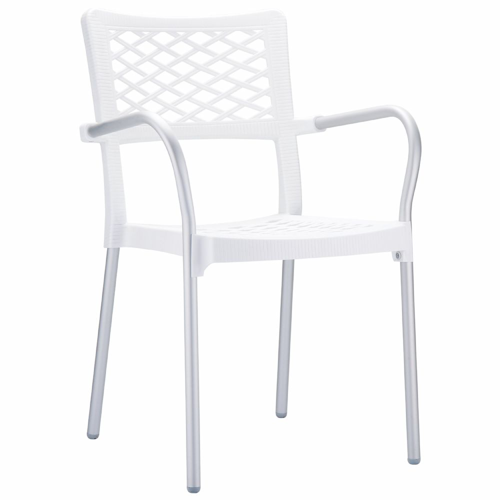 Bella Dining Arm Chair White ISP040-WHI