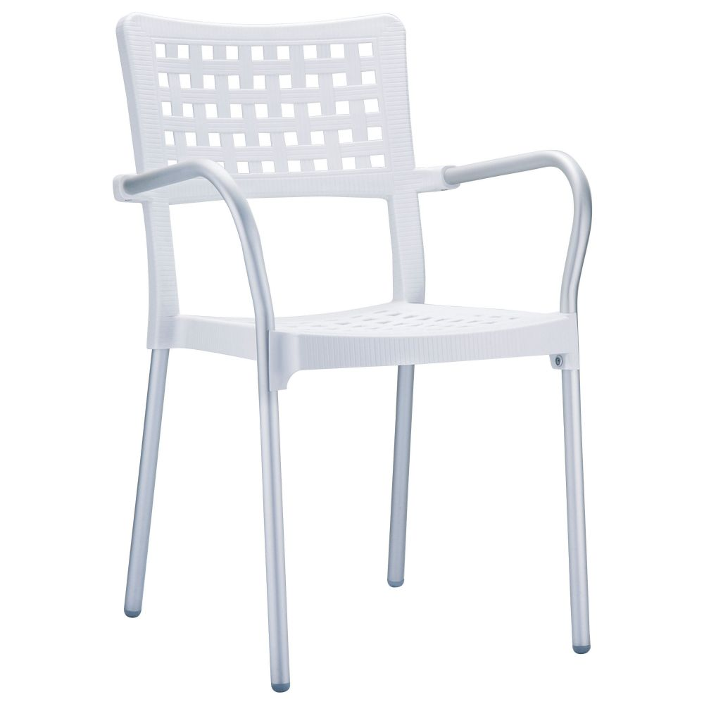 Gala Dining Arm Chair White ISP041-WHI