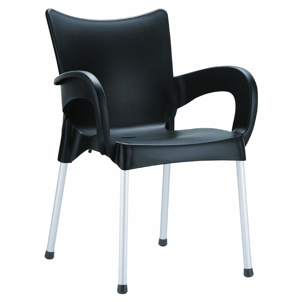 Romeo Resin Dining Arm Chair Black ISP043-BLA