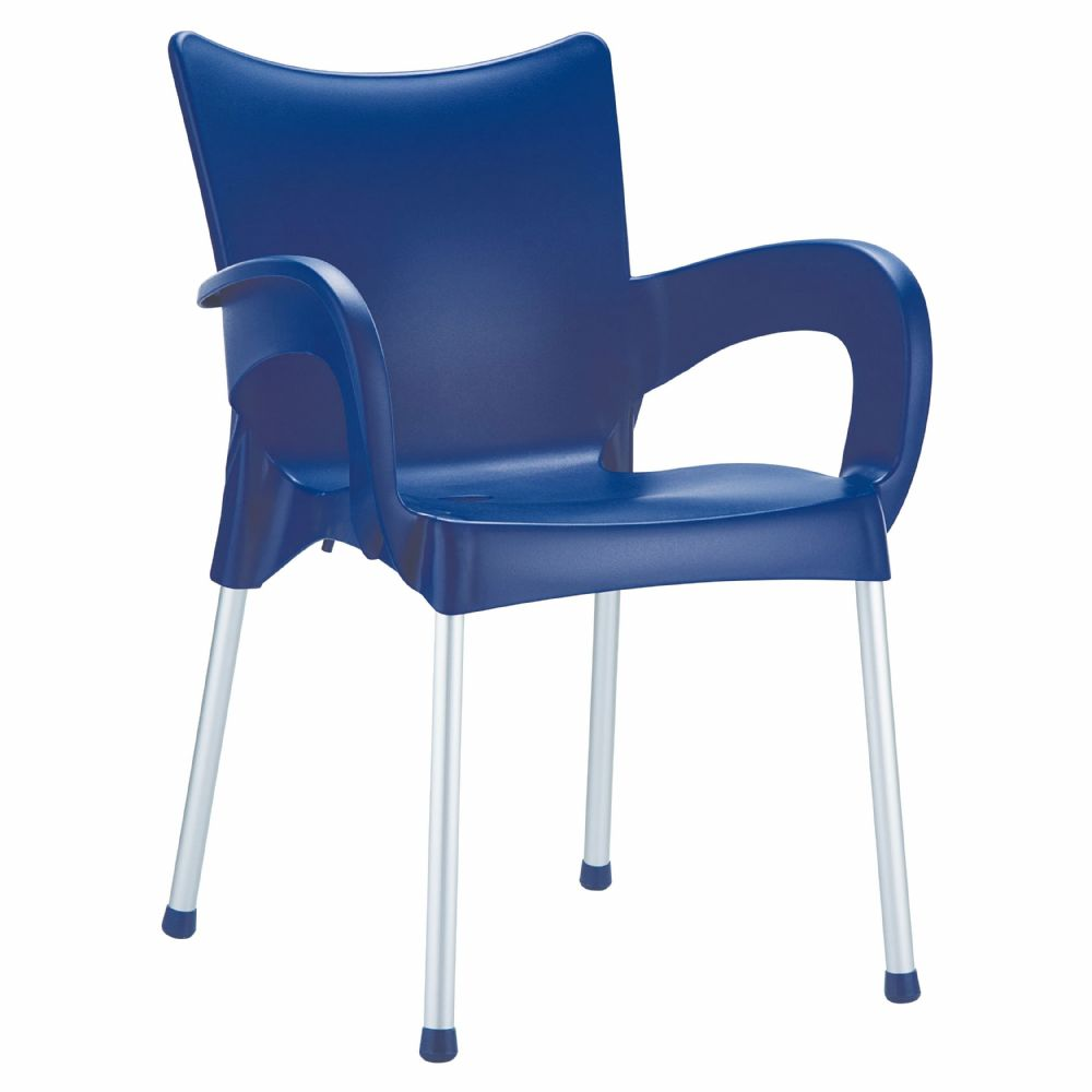 Romeo Resin Dining Arm Chair Blue ISP043-DBL