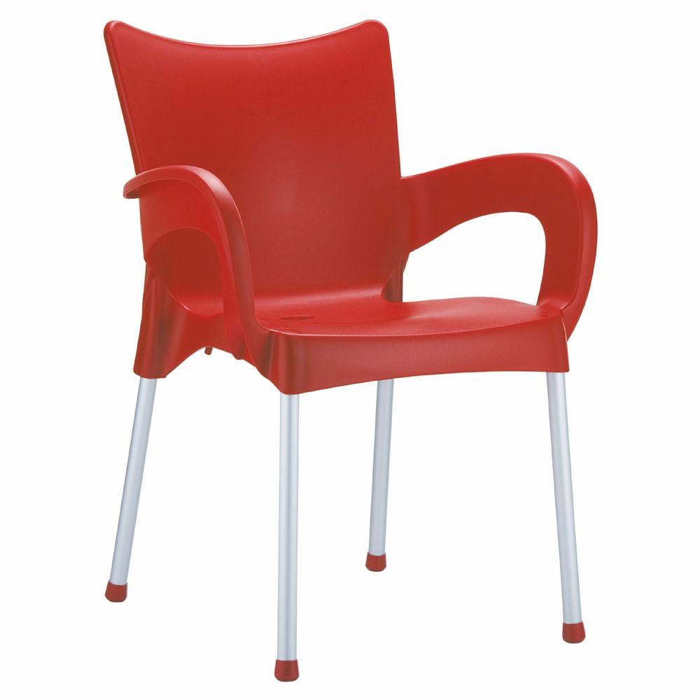Romeo Resin Dining Arm Chair Red ISP043-RED