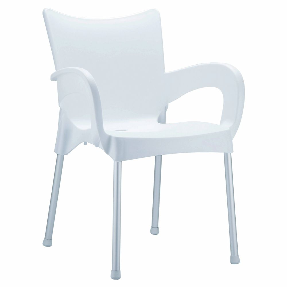 Romeo Resin Dining Arm Chair White ISP043-WHI