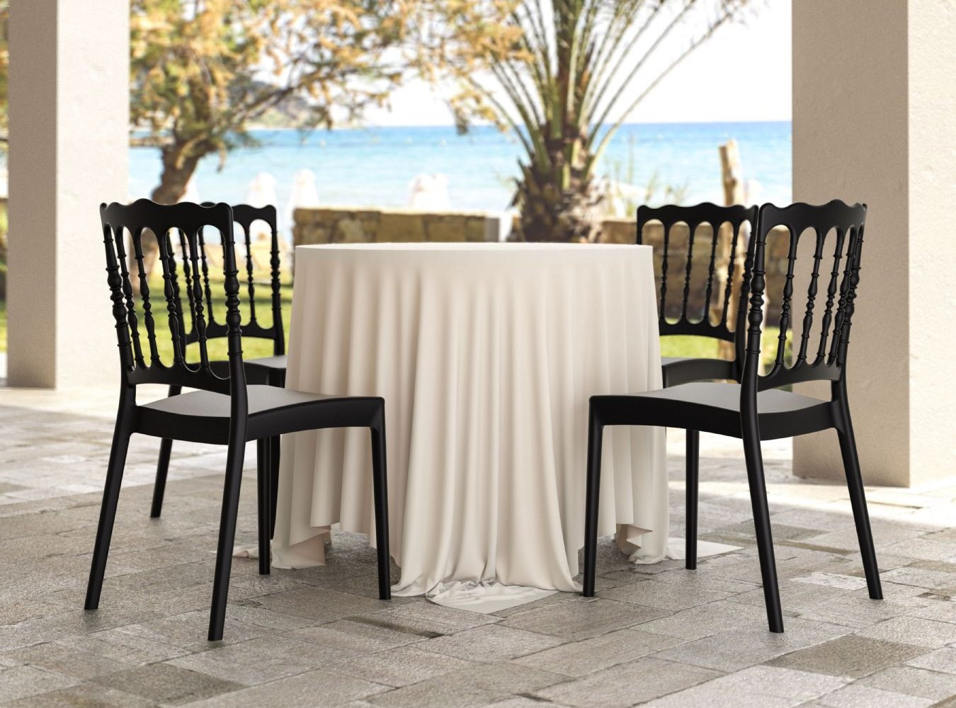Napoleon Resin Wedding Chair Black ISP044-BLA - 1