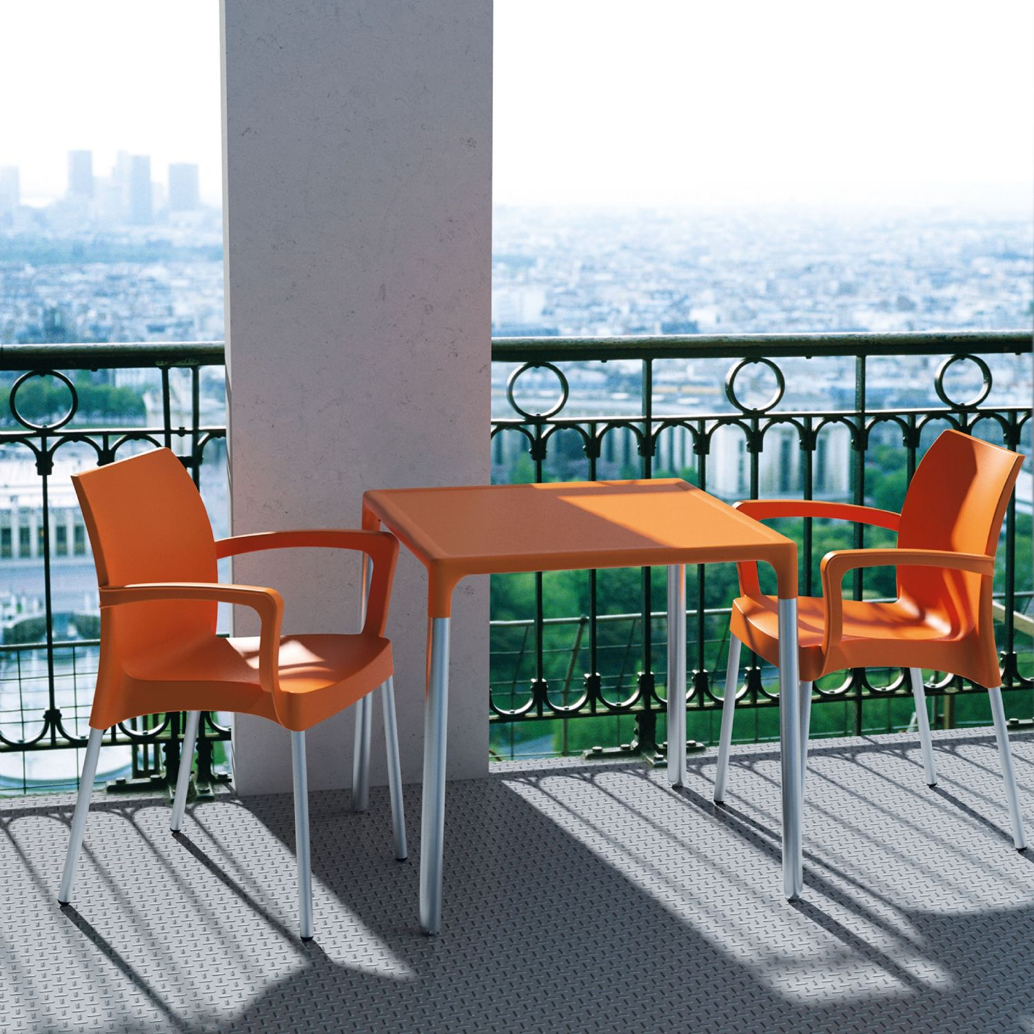 Dolce Resin Outdoor Armchair Orange ISP047-ORA - 4