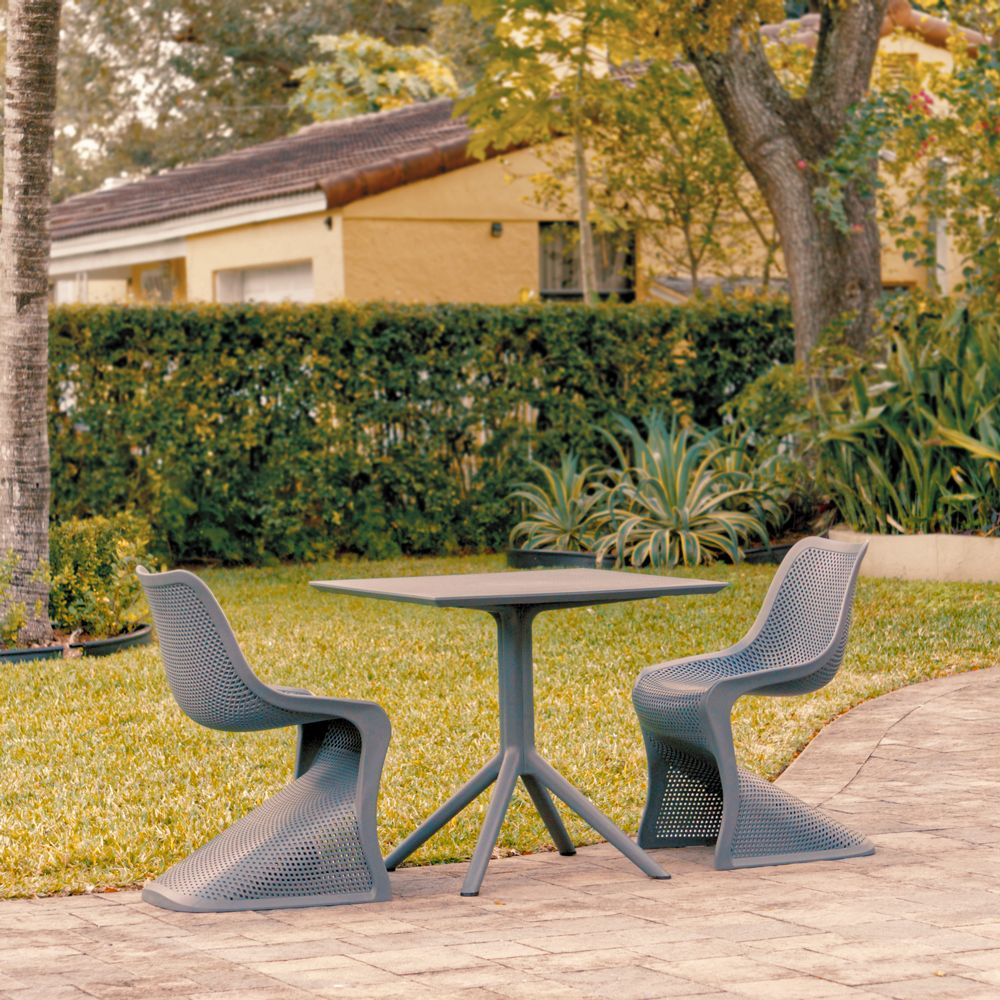 Bloom Patio Dining Set with 2 Chairs Dark Gray ISP0484S-DGR