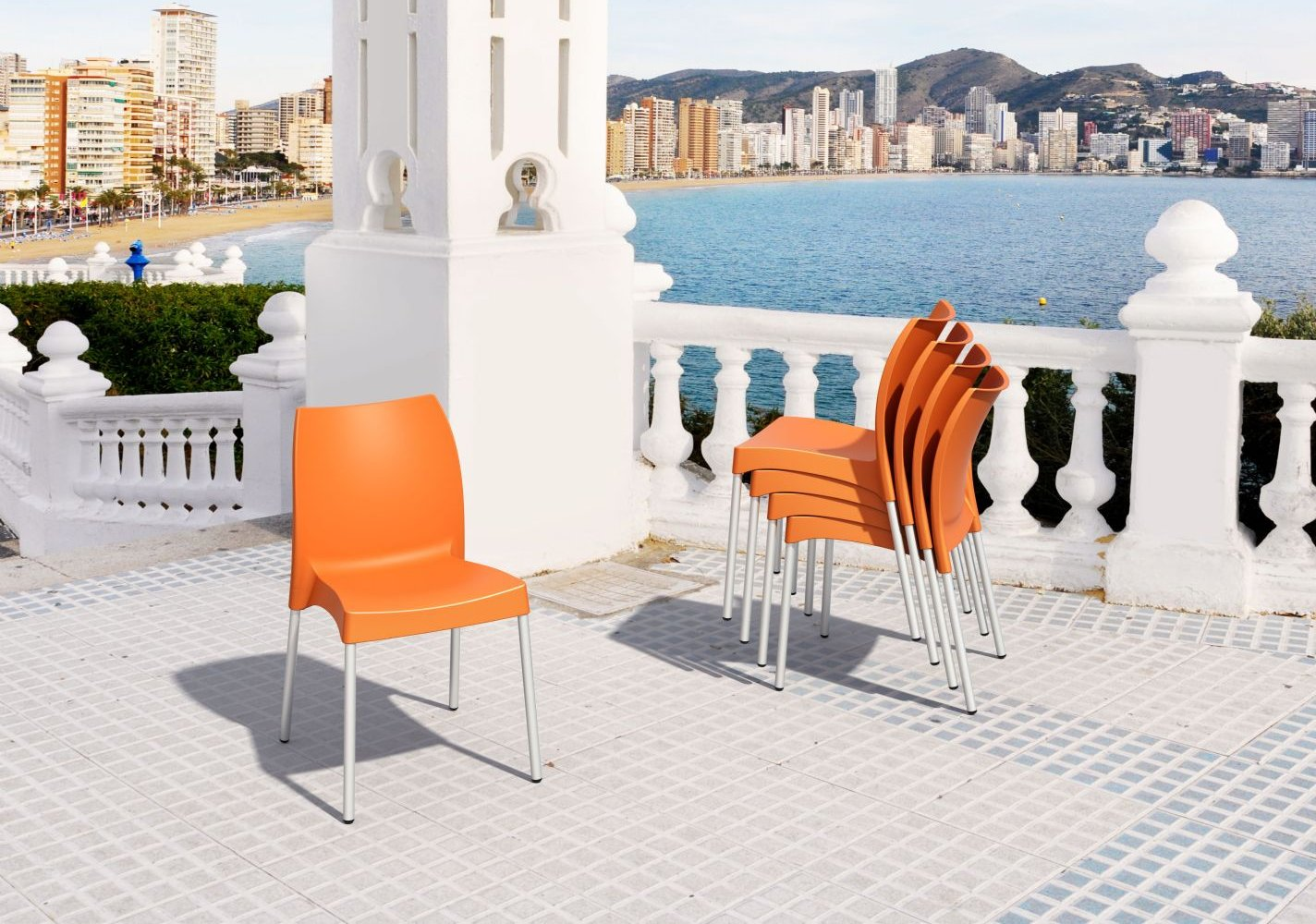 Vita Resin Outdoor Dining Chair Orange ISP049-ORA - 2