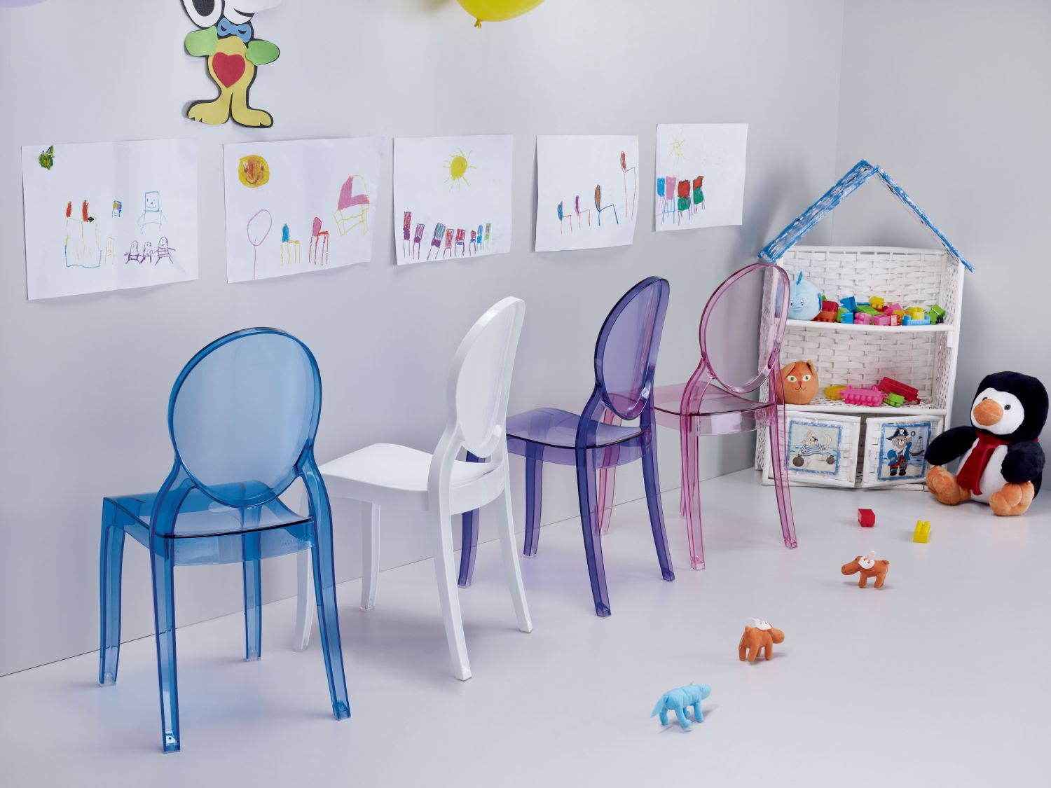 Baby Elizabeth Kids Chair Transparent Blue ISP051-TBLU - 11