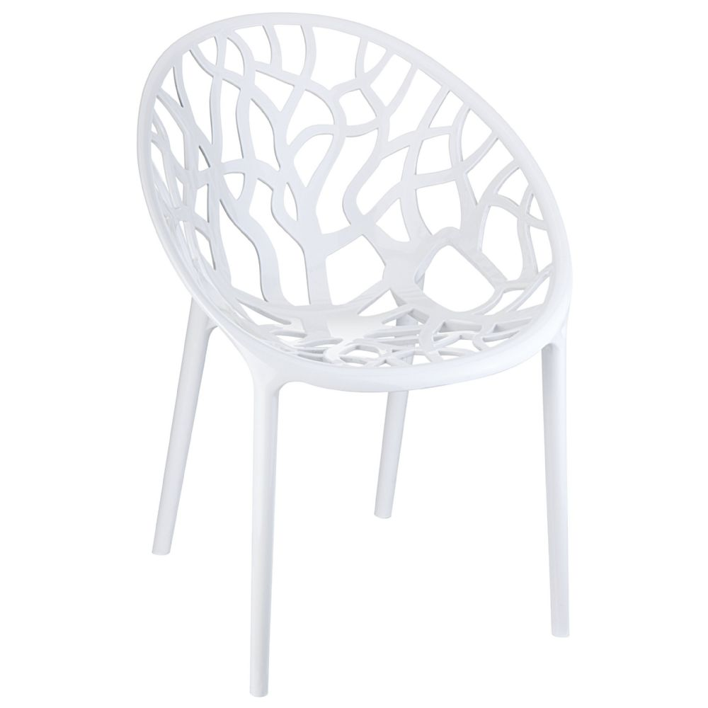 Crystal Polycarbonate Modern Dining Chair Glossy White ISP052-GWHI