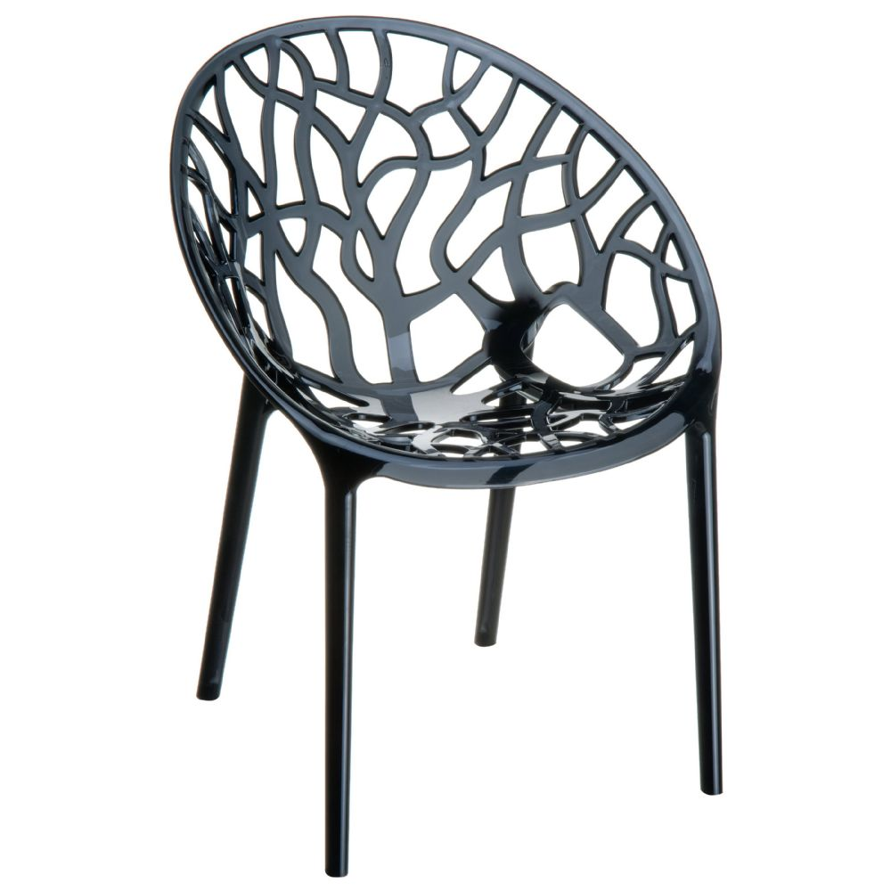 Crystal Polycarbonate Modern Dining Chair Transparent Black ISP052-TBLA