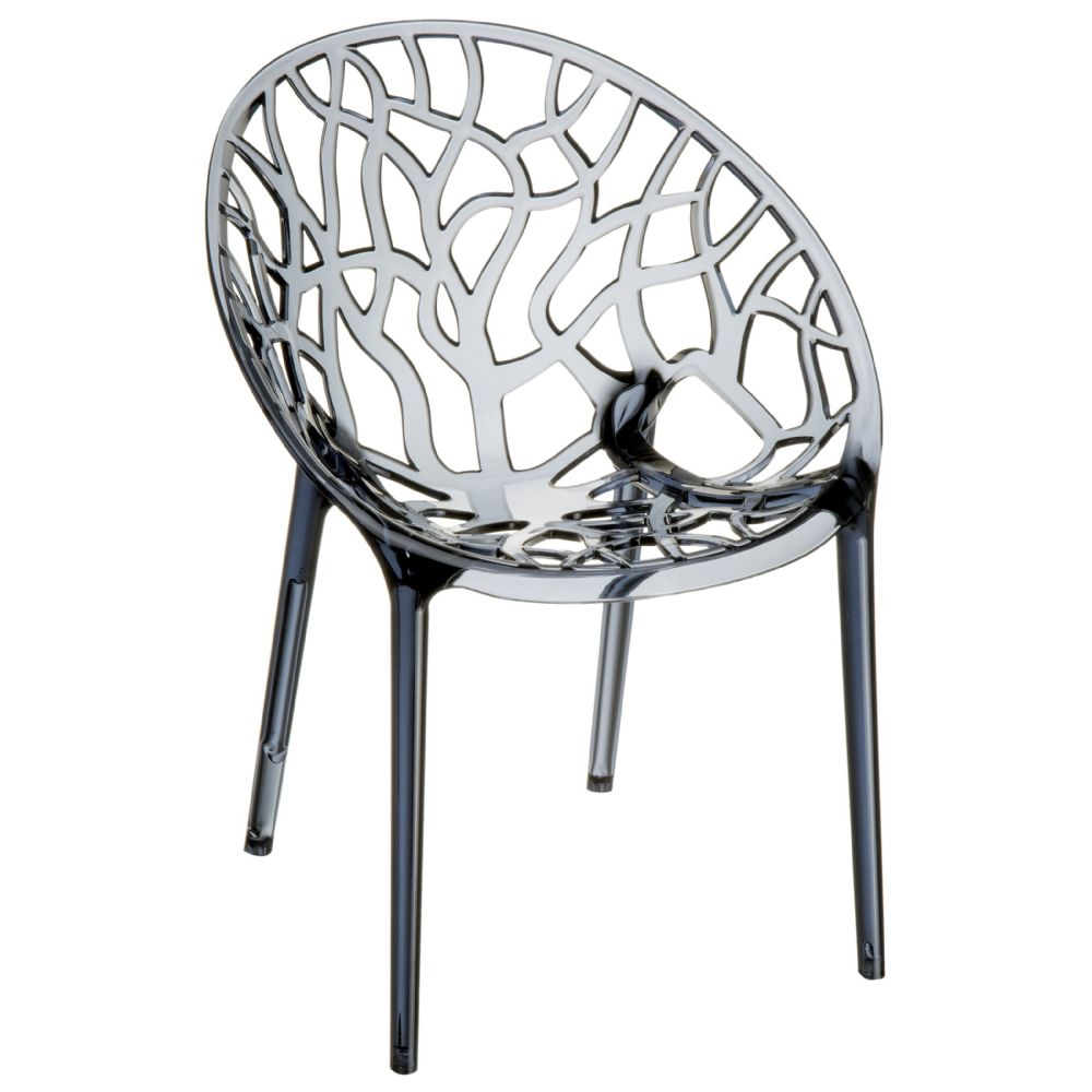 Crystal Polycarbonate Modern Dining Chair Transparent Smoke Gray ISP052-TGRY