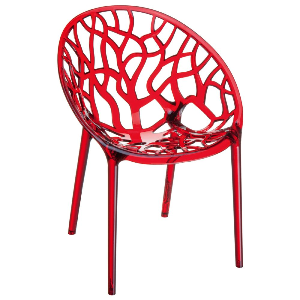 Crystal Polycarbonate Modern Dining Chair Transparent Red ISP052-TRED