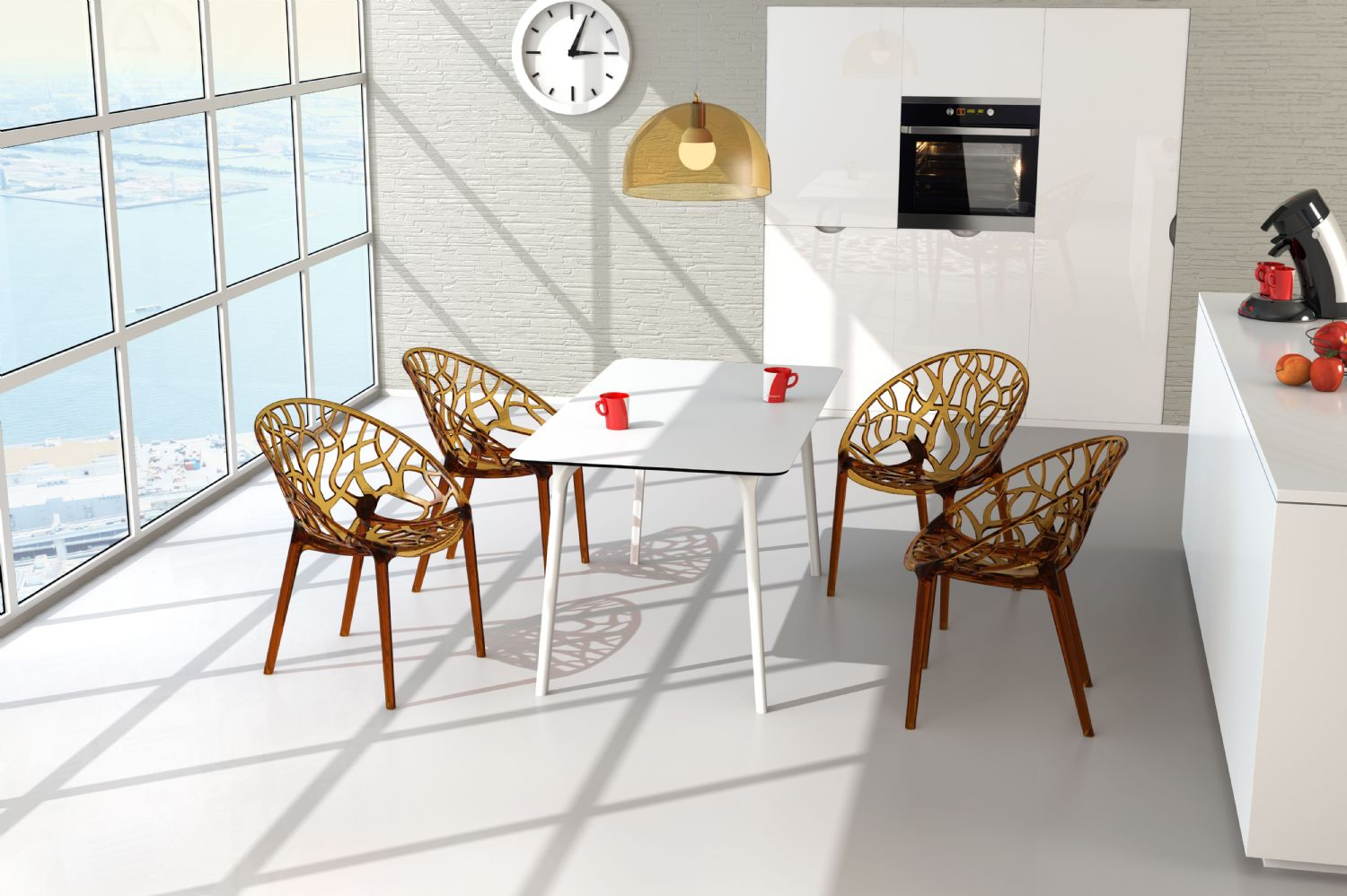 Crystal Polycarbonate Modern Dining Chair Transparent ISP052-TCL - 7