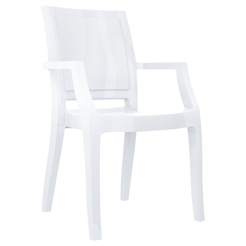 Arthur Polycarbonate Arm Chair White ISP053-GWHI