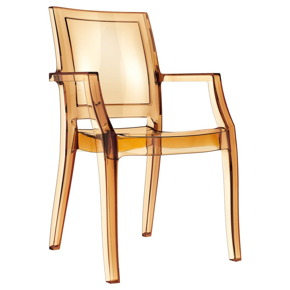 Arthur Polycarbonate Arm Chair Amber ISP053-TAMB