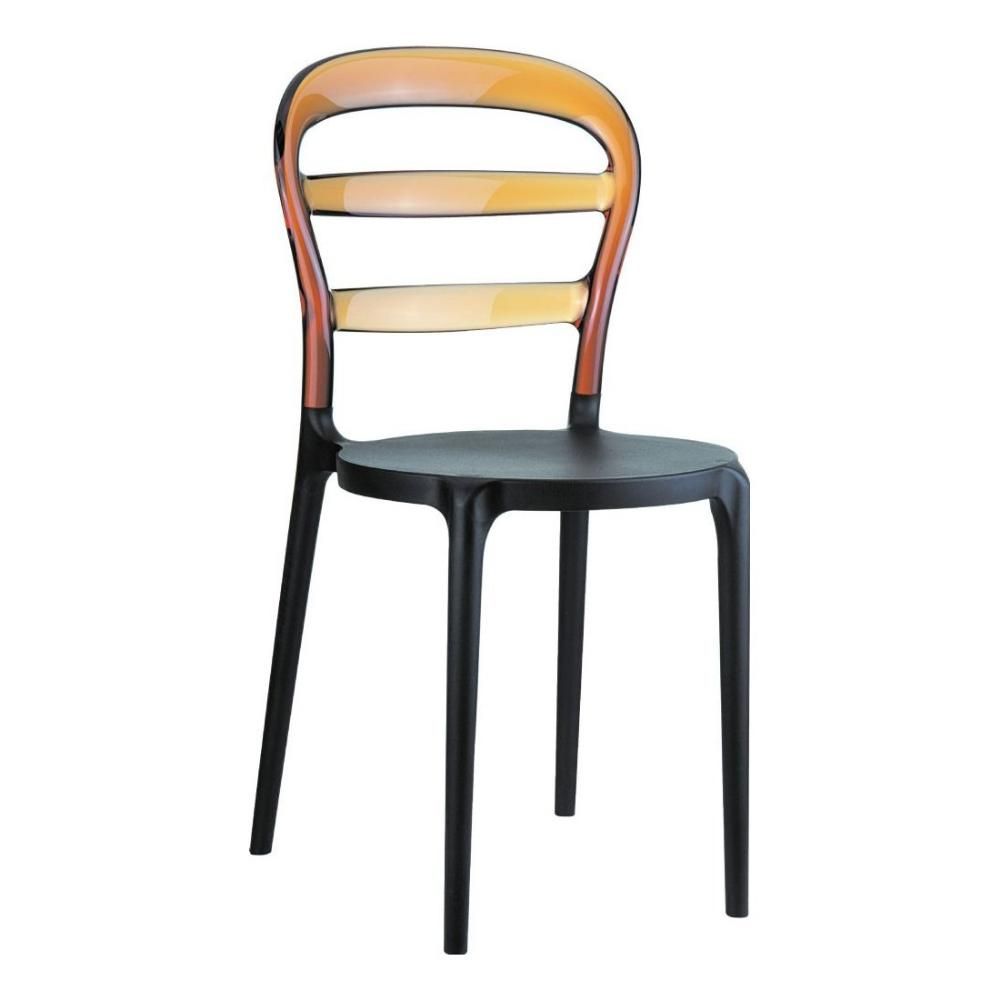 Miss Bibi Chair Black with Transparent Amber Back ISP055-BLA-TAMB