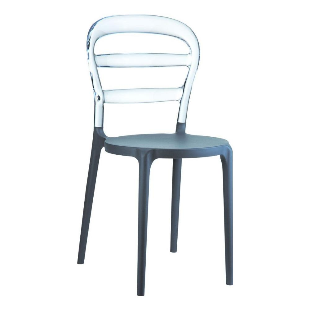 Miss Bibi Chair Dark Gray with Transparent Back ISP055-DGR-TCL