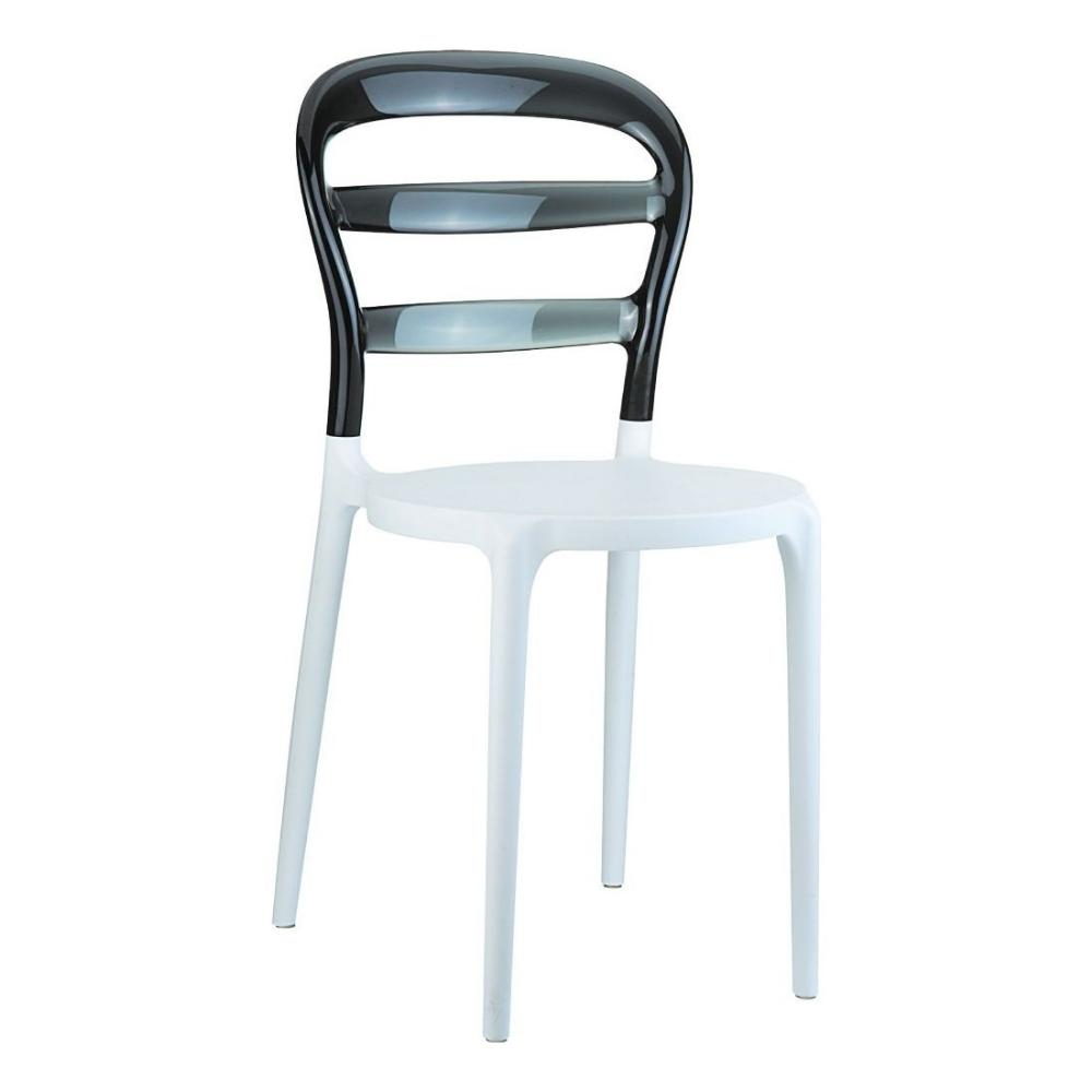 Miss Bibi Dining Chair White Black ISP055-WHI-TBLA