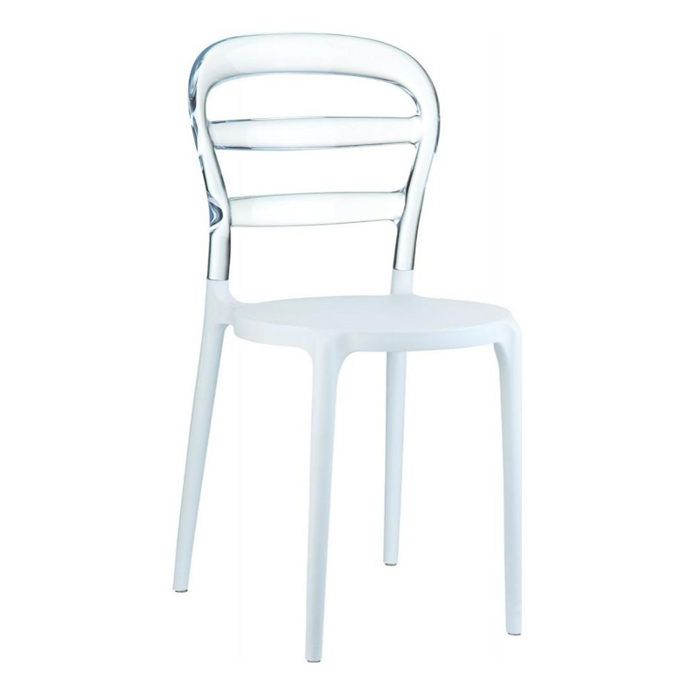Miss Bibi Dining Chair White Transparent ISP055-WHI-TCL