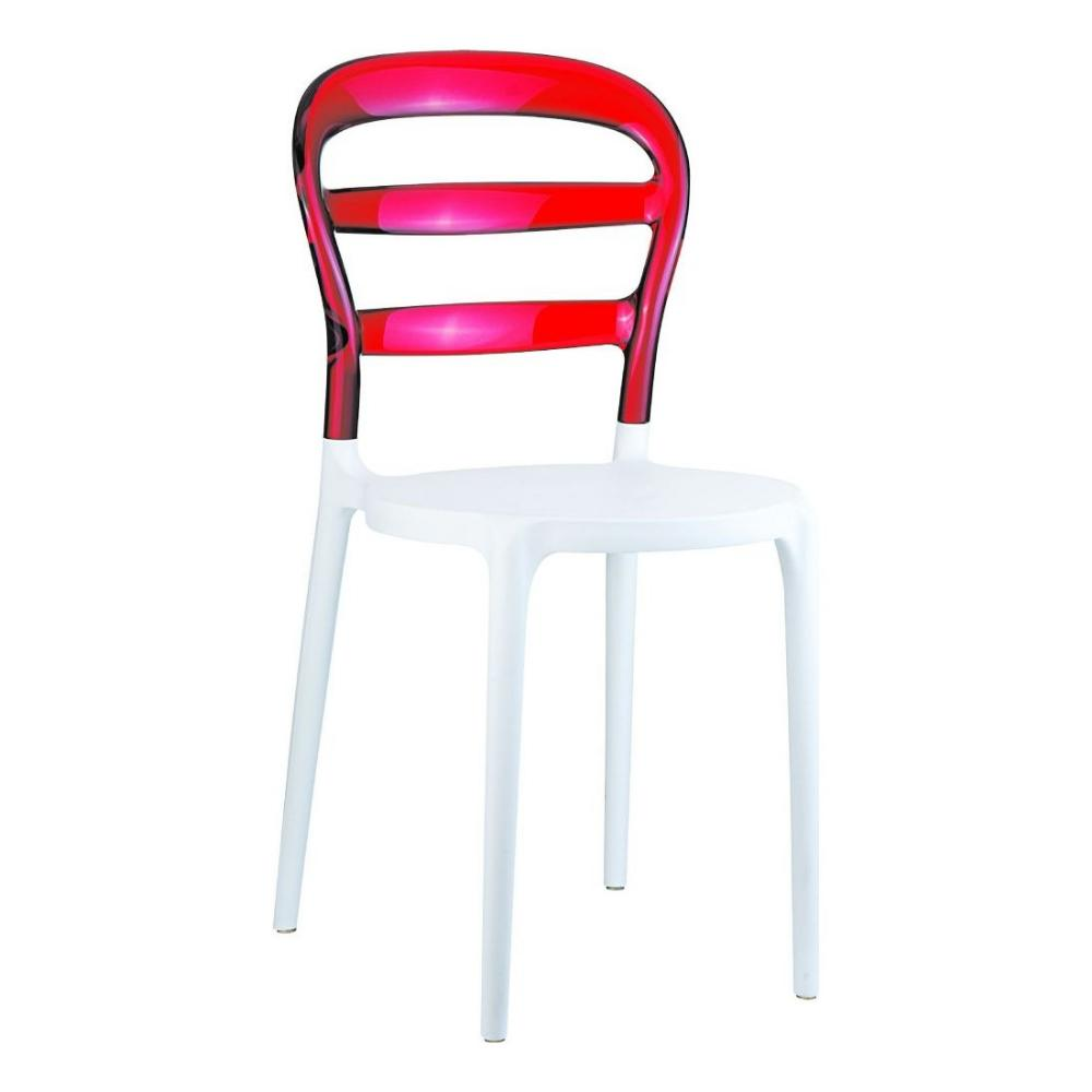 Miss Bibi Dining Chair White Red ISP055-WHI-TRED