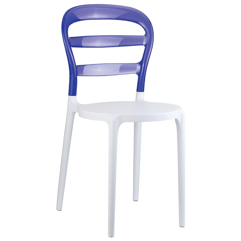 Miss Bibi Dining Chair White Violet ISP055-WHI-TVIO