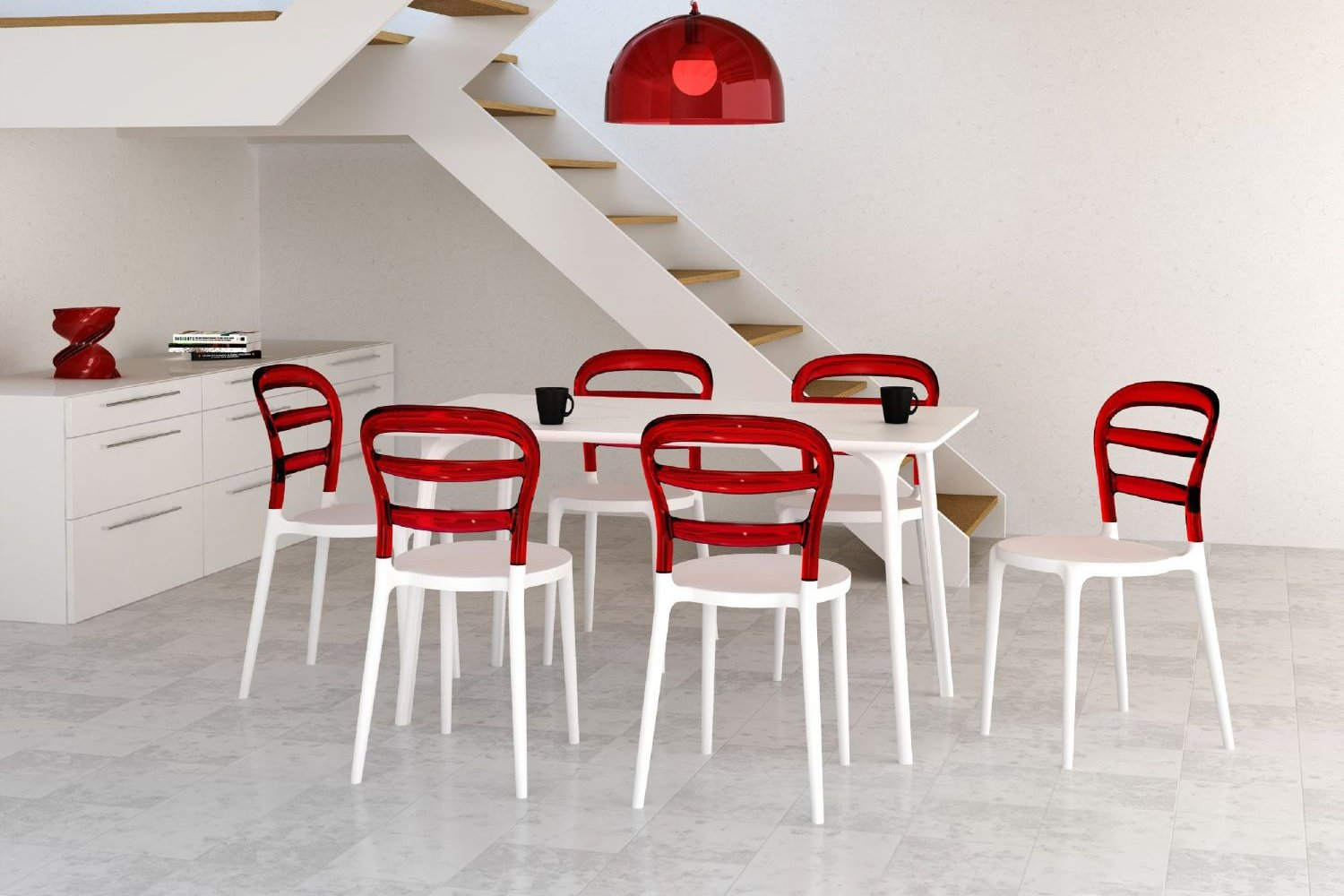 Miss Bibi Dining Chair White Red ISP055-WHI-TRED - 1