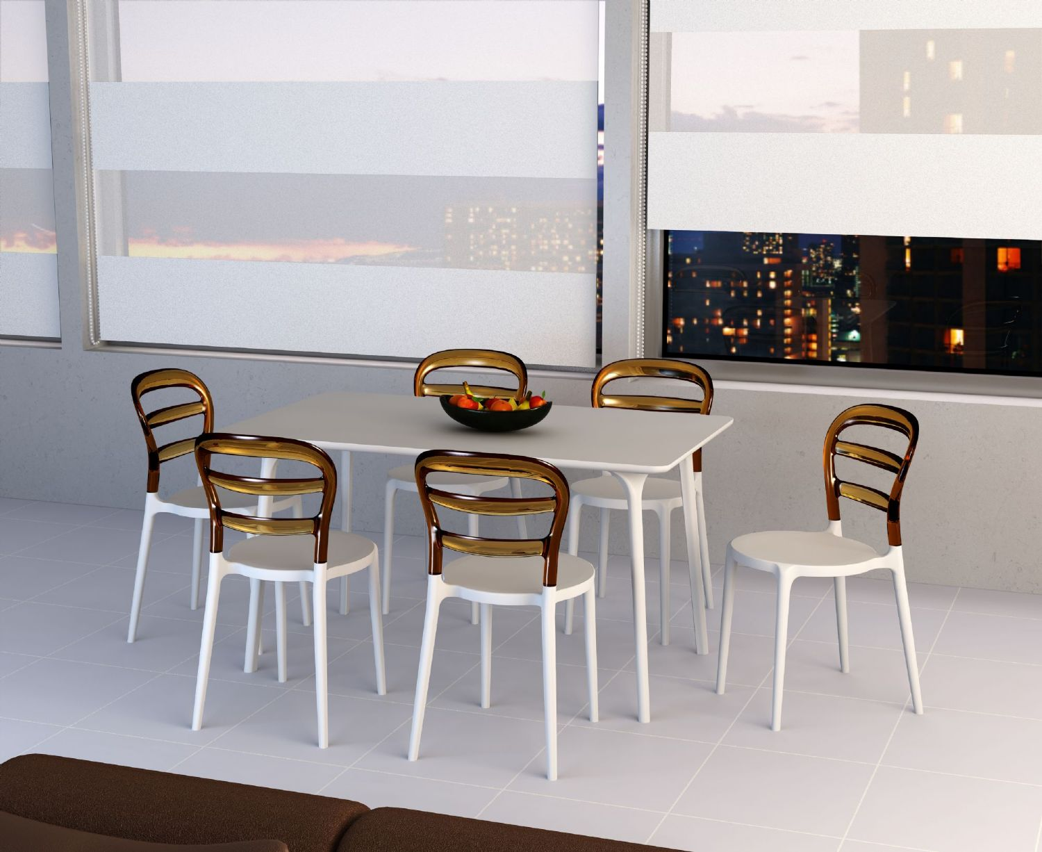Miss Bibi Dining Chair White Red ISP055-WHI-TRED - 2