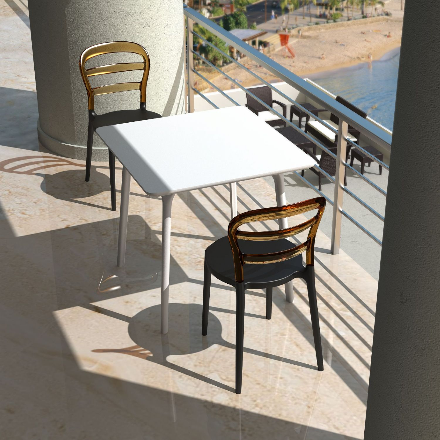 Miss Bibi Dining Chair White Red ISP055-WHI-TRED - 3