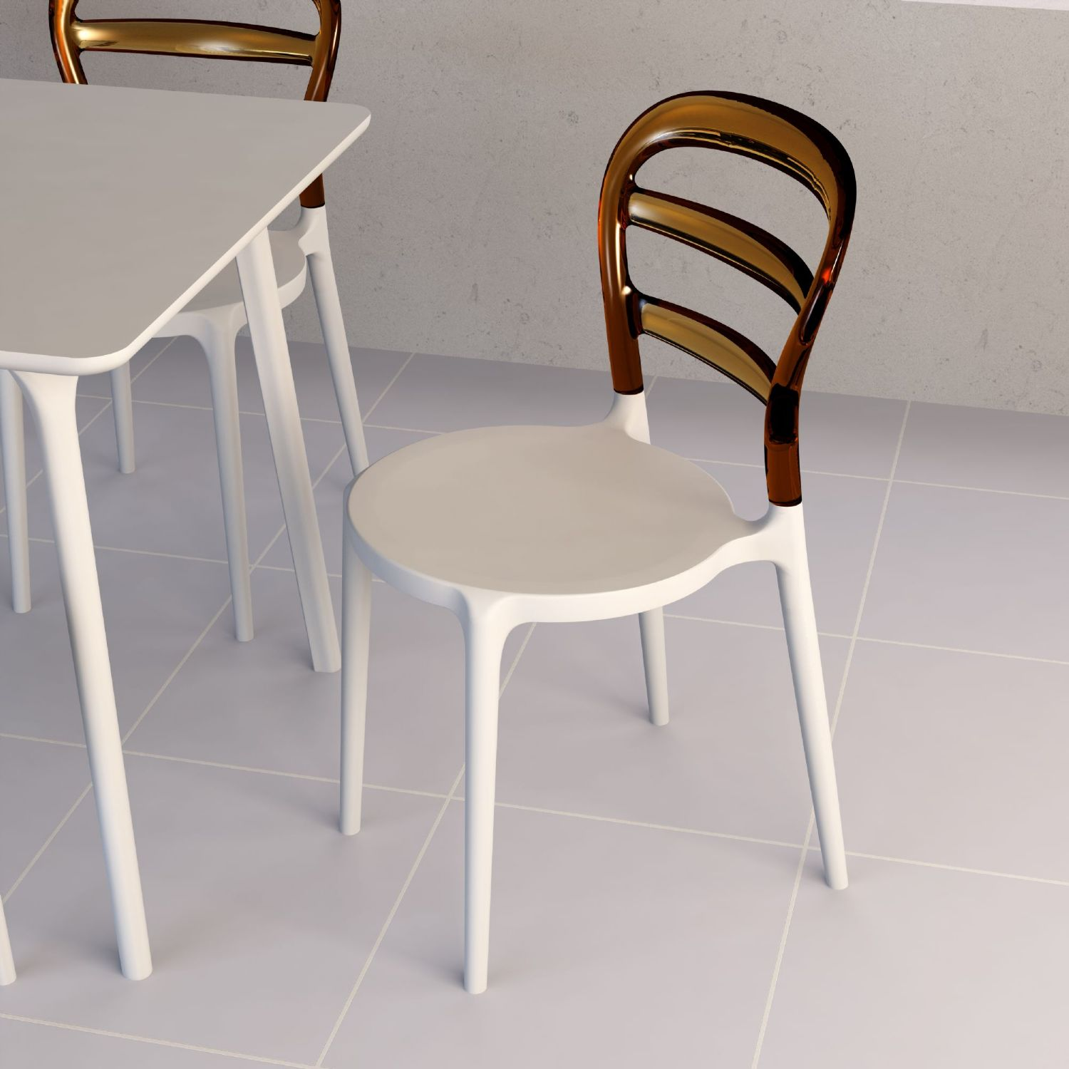 Miss Bibi Dining Chair White Red ISP055-WHI-TRED - 12