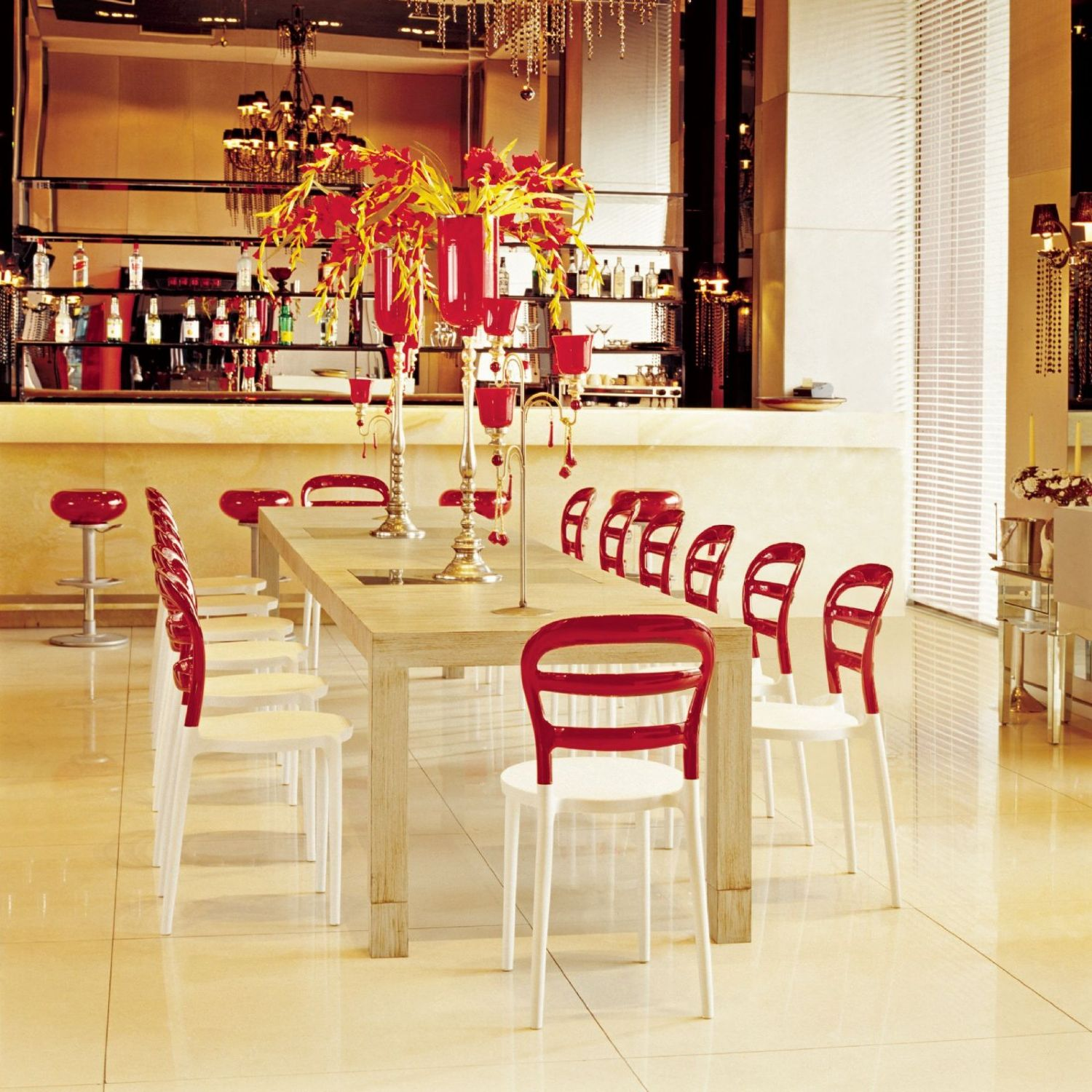 Miss Bibi Dining Chair White Red ISP055-WHI-TRED - 13