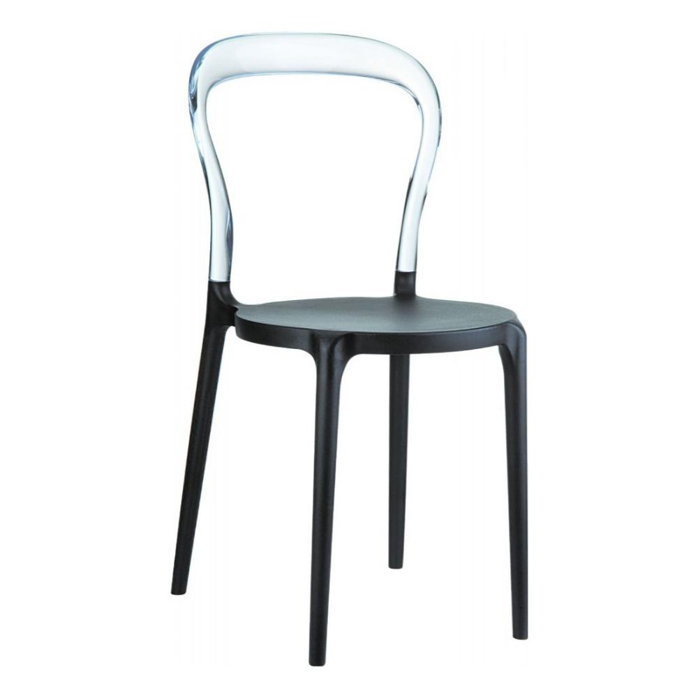 Mr Bobo Chair Black with Transparent Back ISP056-BLA-TCL