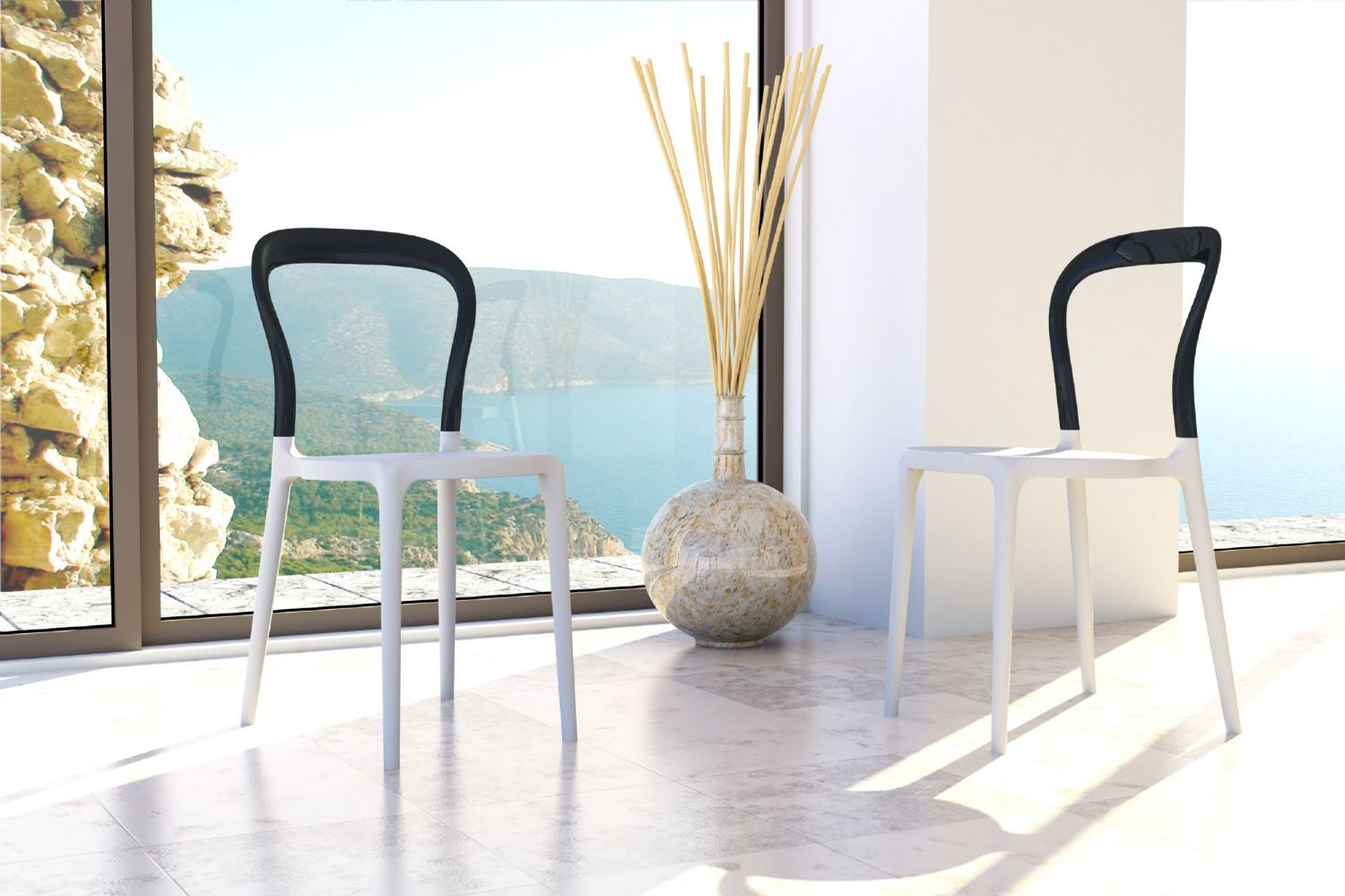 Mr Bobo Chair White with Transparent Back ISP056-WHI-TCL - 4