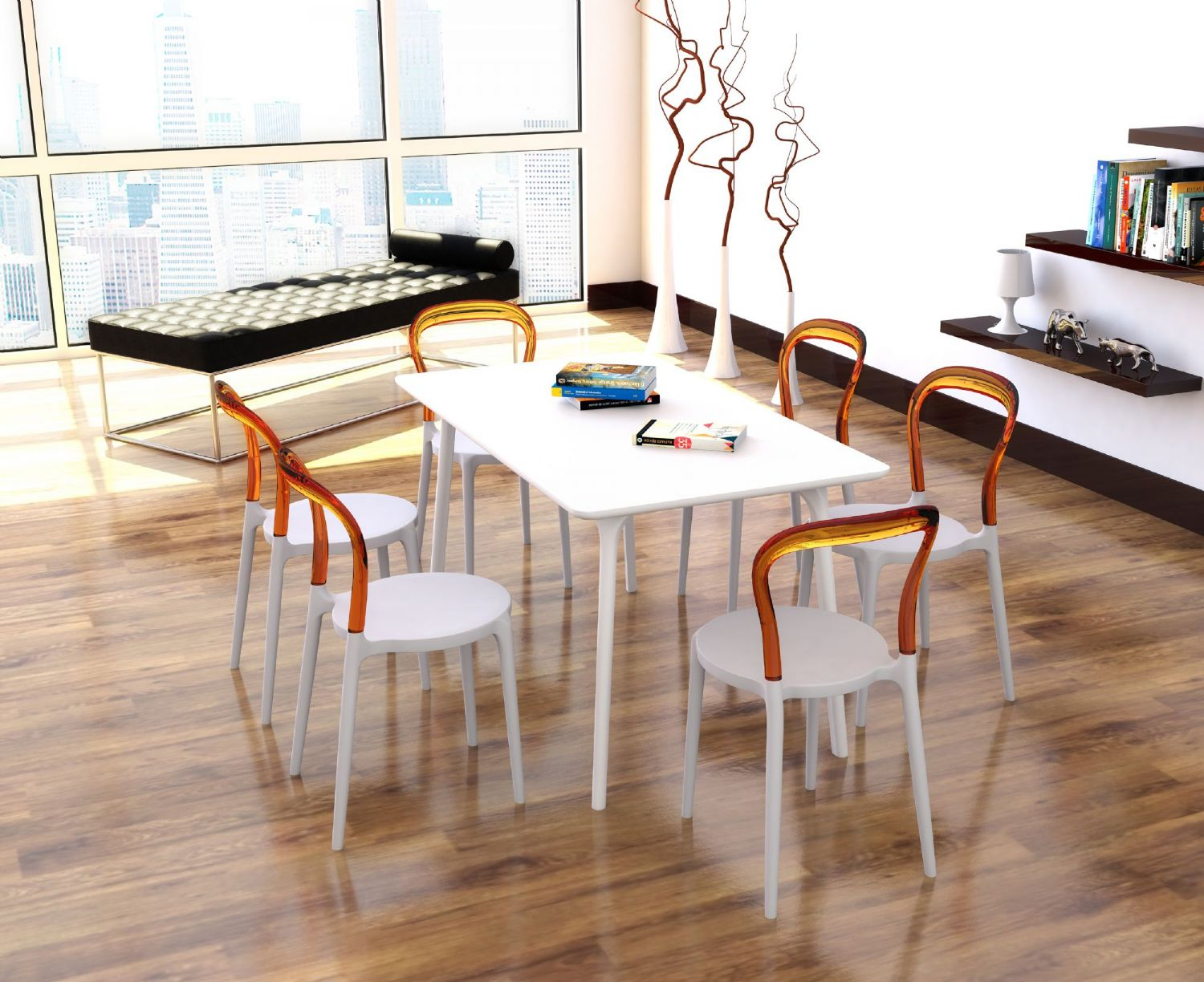 Mr Bobo Chair White with Transparent Back ISP056-WHI-TCL - 5