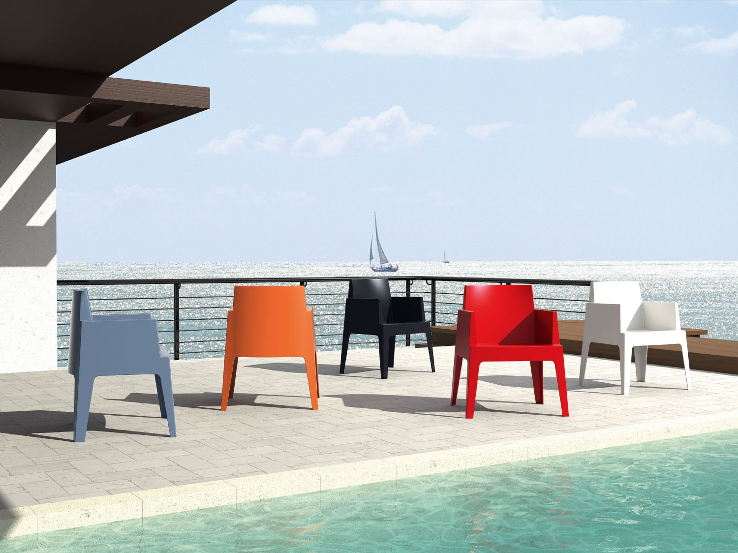 Box Outdoor Dining Chair Red ISP058-RED - 19