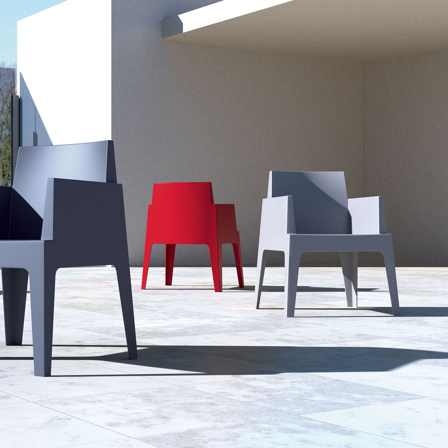 Box Outdoor Dining Chair Red ISP058-RED - 22