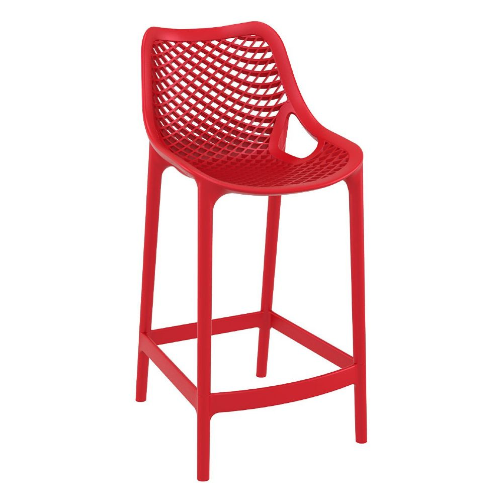 Air Resin Outdoor Counter Chair Red ISP067-RED