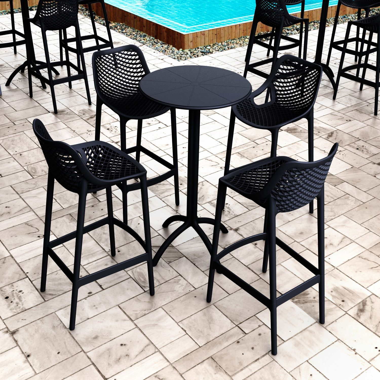Air Resin Outdoor Bar Chair Tropical Green ISP068-TRG - 1