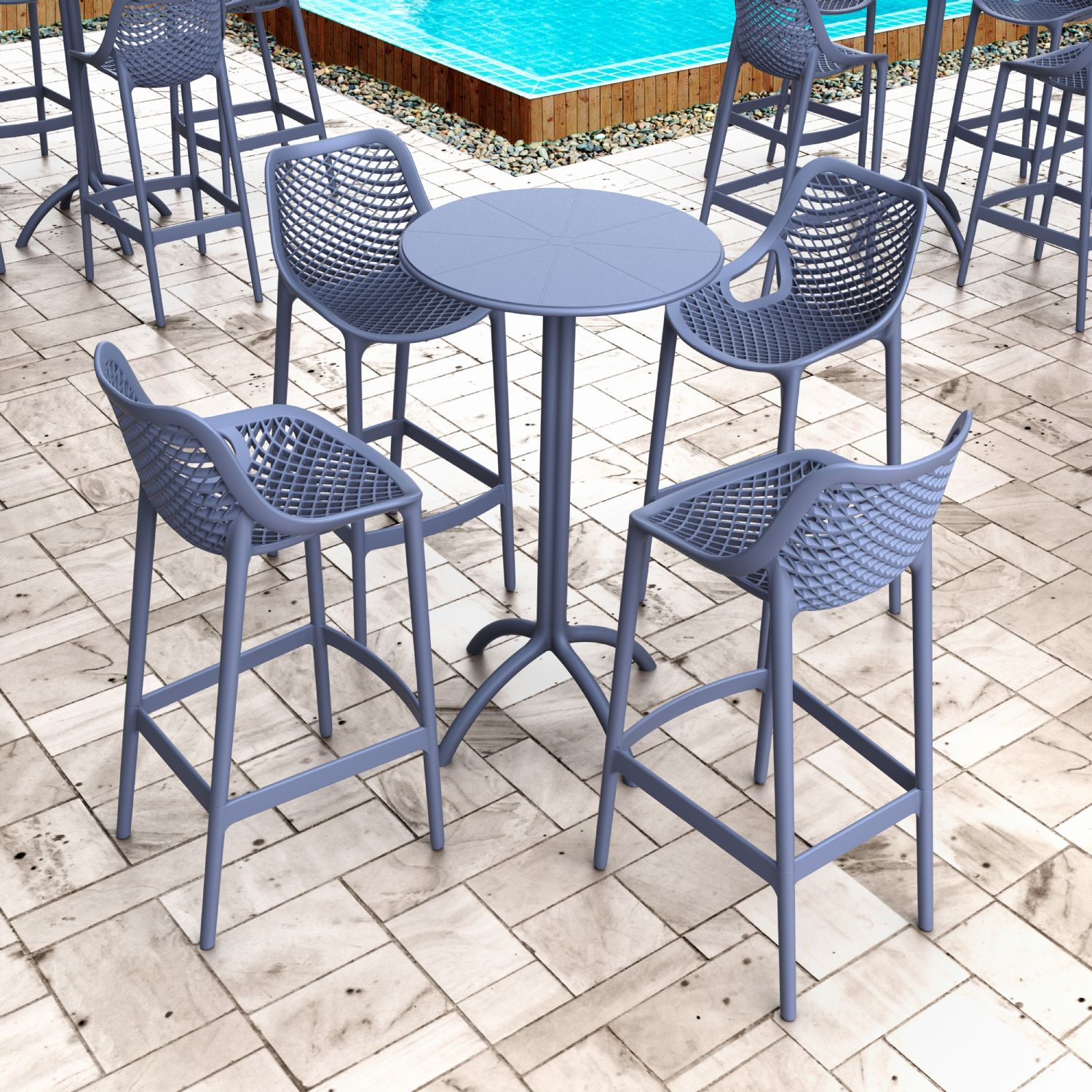 Air Resin Outdoor Bar Chair Dark Gray ISP068-DGR - 2